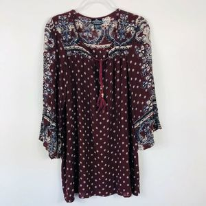 Angie Red Tie Front Boho Tunic Top 3/4 Sleeve